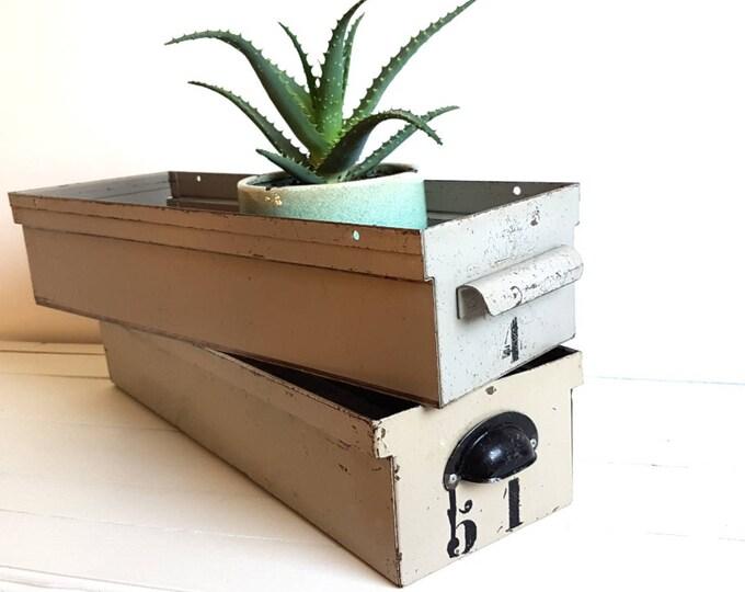 Vintage industrial metal workshop drawer * industrial decor * vintage metal crate * industrial metal box * metal storage box