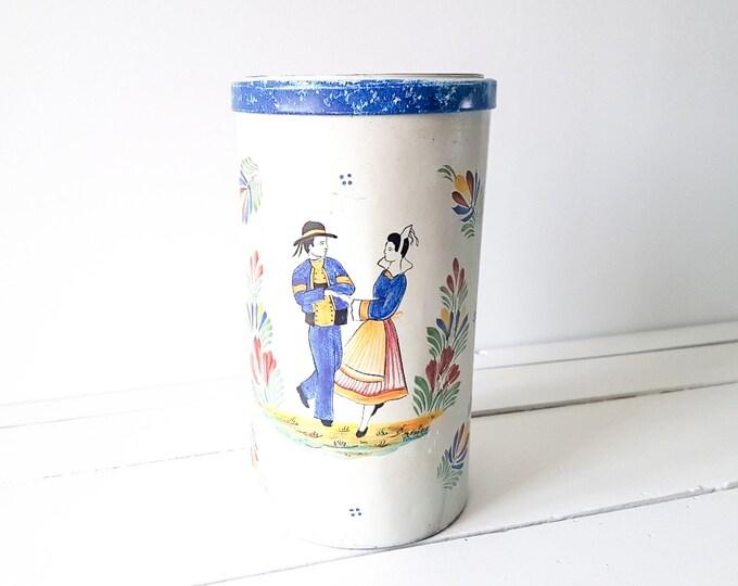 French vintage tin 'Folklore' * vintage storage container * kitchen storage * vintage home decor * French Folklore