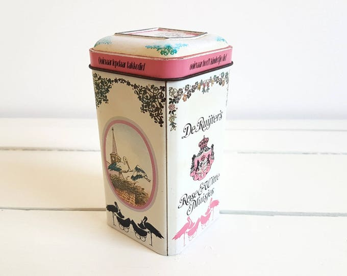 Unique old Dutch tin 'Rose en Witte muisjes' / 'pink and white anise sead sprinkles'