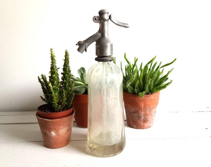 Antique unique glass Seltzer bottle 'Anton Lang'
