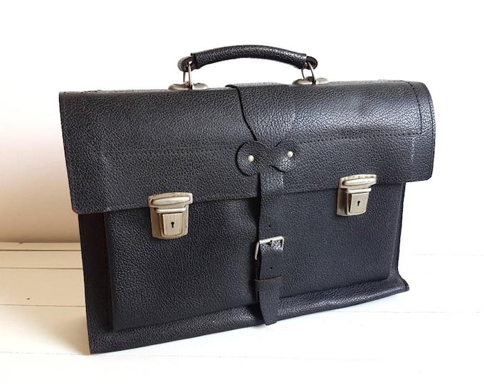 Vintage black leather school bag * old workbag * black leather office bag * vintage fashion * document bag * business handbag