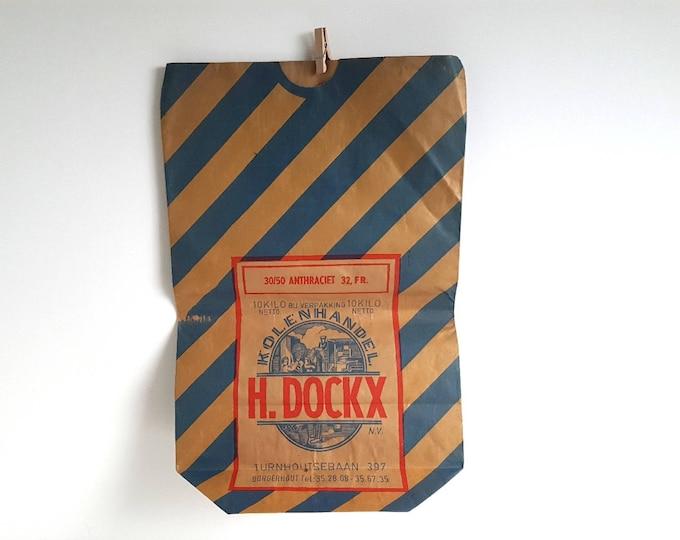 Old paper grocery bag * old paper coal sack * old paper bag * vintage paper coal sack