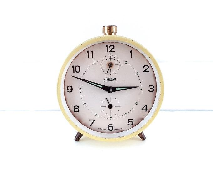 Vintage alarm clock yellow Kaiser Western Germany • collectors alarm clock • home office decor gold • decorative alarm clock