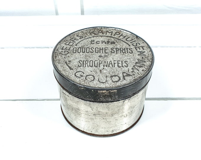 Antique industrial round Dutch cookie tin • Typical Dutch Gouda • industrial advertising tin round • home decor • collector's item