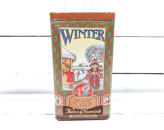 Vintage Dutch coffee tin Seasons Kanis and Gunnink • antique coffee canister • advertisement tin • kitchen storage tins • advertising tin