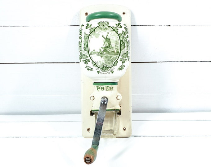 Antique Dutch wall mounted coffee grinder PeDe green flowers and windmill • manual grinder • coffee bean grinder • coffee mill grinder