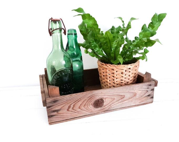Vintage wooden harvest crate • wooden auction crate • fruit crate • farmhouse decor • potato crate