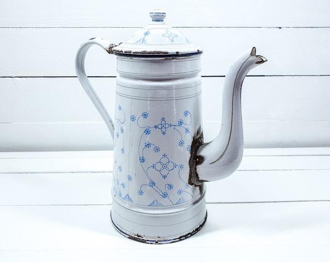 Vintage white enamel coffee pot saxon blue pattern • farmhouse style decor • saxony blue coffee pot • kitchen decoration • indian blue #2