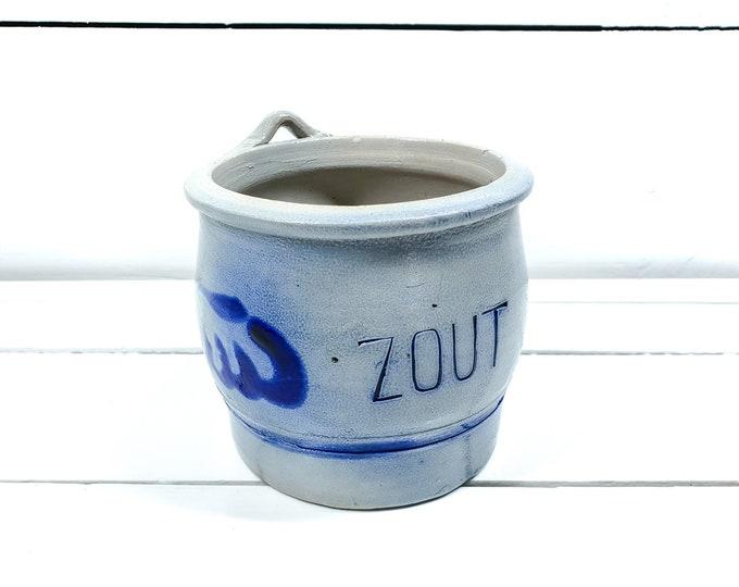 Vintage ceramic German gray blue salt pot • antique Cologne Pottery • typical Dutch decor • farmhouse kitchen wall decor • salt storage