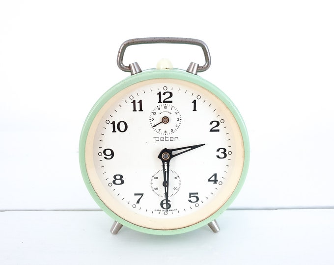 Vintage alarm clock Peter • old mechanical alarm clocks • German Peter clock • desk clock • vintage home accessories
