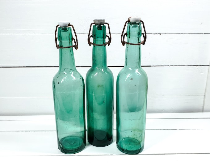 Vintage French turquoise green bottles with clip closure (set of 3) • antique French glassware • farmhouse decorations • glass decoration #4