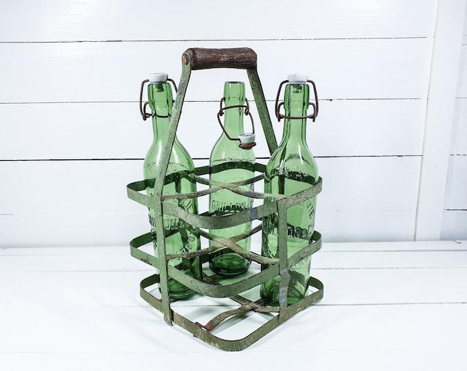 Old French greenl bottle rack • metal bottle carrier 4 bottles • vintage wine rack • bottle crate • rustic bottle carrier • bottle holder