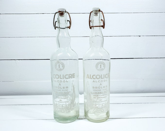 Vintage French bottles with clip closure Alcolicre • antique French glassware • farmhouse decorations • glass home accents