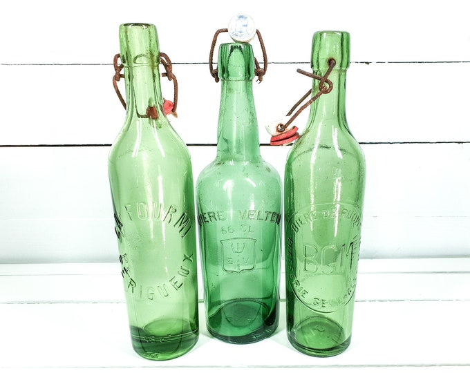 Vintage French green bottles with clip closure (set of 3) • antique French green glassware • farmhouse decorations • glass decoration #3