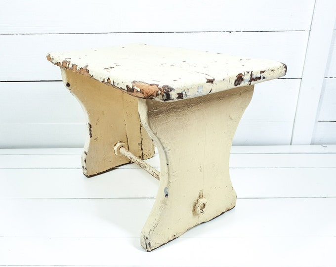 Vintage French stool soft yellow chippy paint • small vintage furniture • rustic farmhouse wooden bench • step stool • small furniture