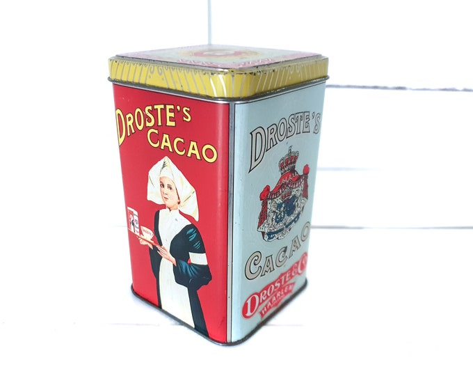Old tin can Droste Cocoa • vintage canister nurse • storage tin • Dutch vintage tin box • old collectible tins • #4