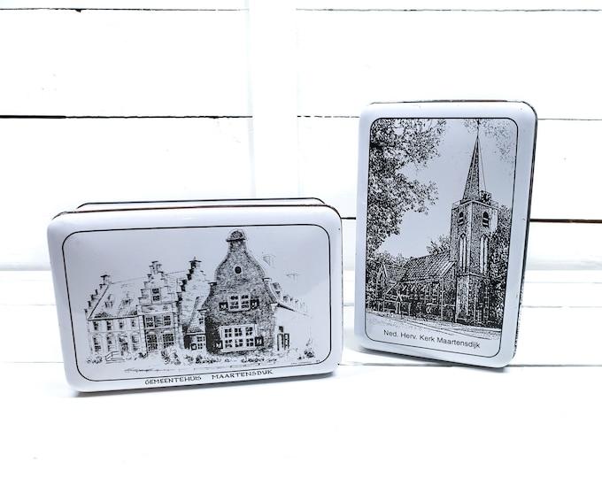 Vintage rectangular biscuit tin sketch Maartensdijk Holland • old biscuit tin church and town hall • Dutch biscuit tin • tin collector