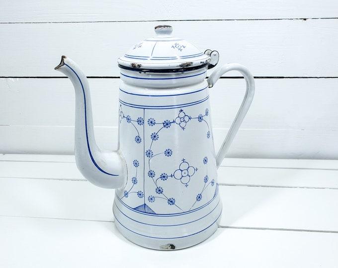 Vintage white enamel coffee pot saxon blue pattern • farmhouse style decor • saxony blue coffee pot • kitchen decoration • indian blue