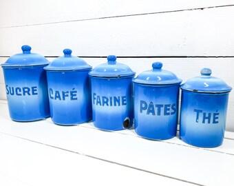 Unique vintage blue enamel storage jars with lid • farmhouse enamel storage containers • enamel kitchen canister set • food storage