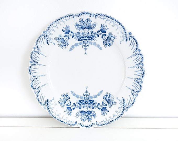 Antique French dinner plate Regence Saint Amand et Hamage • antique ceramic plate blue flowers • vintage French tableware