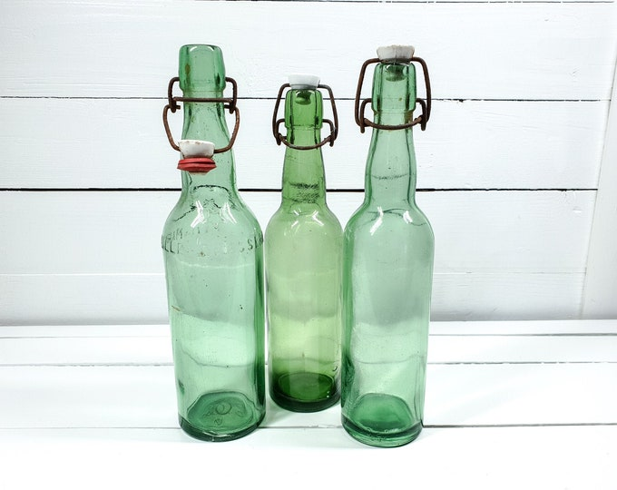 Vintage French green bottles with clip closure (set of 3) • antique French green glassware • farmhouse decorations • glass decoration #4