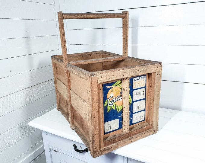 Vintage wooden crate with handle • wooden fruit crate • magazine storage box • wood basket • old box • firewood storage • storage bin