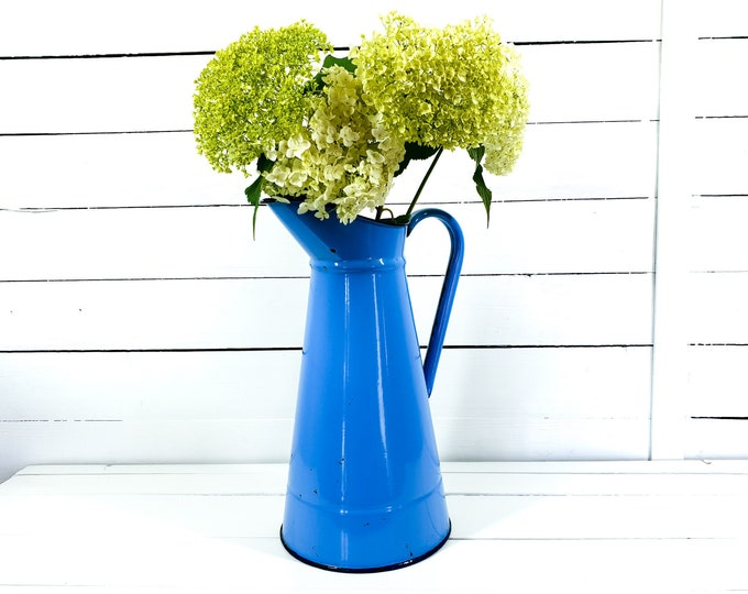 Large vintage French blue enamel water pitcher • farmhouse home decor • enamelled jug • blue enamel ewer • unique vase • enamelware vase