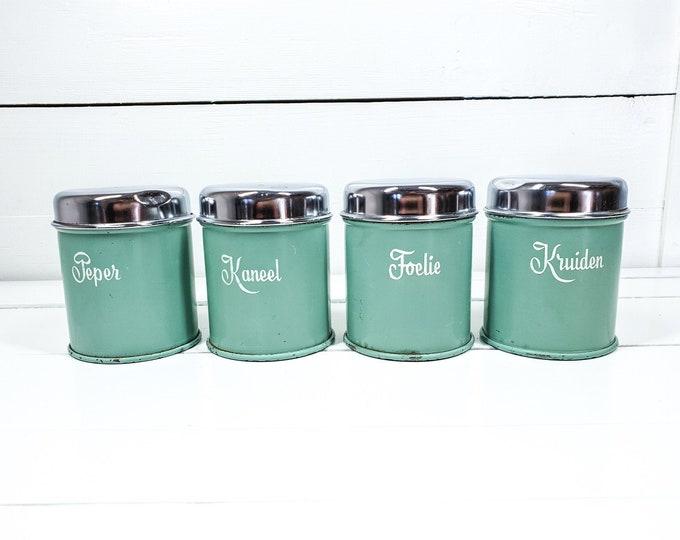Vintage green metal spice jars with lid • old kitchen container set • shabby chic kitchen decor • kitchen storage jars