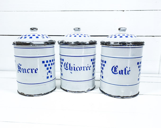 Unique set French enamel storage jars white and blue • farmhouse white enamel storage containers with lid • shabby chic kitchen accents