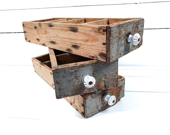 Vintage distressed wooden drawer porcelain knob • old wooden drawers • storage box • wooden tray • farm home decor • chippy paint