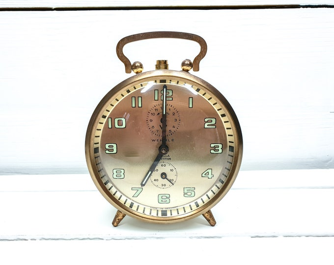 Shabby chic alarm clock white and gold Wehrle Germany • vintage collectable alarm clock • home office decor gold • mechanical alarm clock