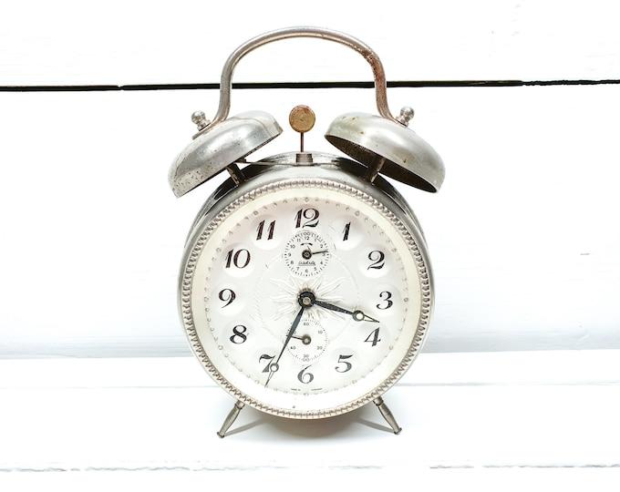 Vintage double bell alarm clock chrome white Wehrle • old German alarm clocks • double bell clock • shabby chic home decor accent