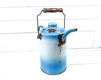 Vintage blue and white enamel petrol can • vintage white enamel • enamelware oil jug • white farmhouse kitchen decor • 1940