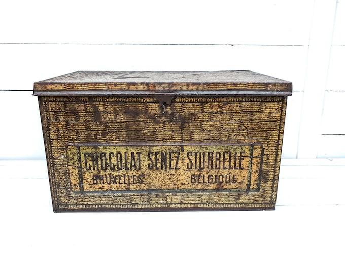Antique general store chocolat tin Senez-Sturbelle Bruxelles Belgium • antique advertising tin box • tin collectors item • chocolate box