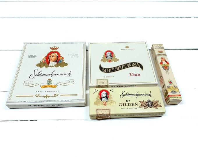 Vintage cigar box Schimmelpenninck Holland (set of 4) • old cigar cans • tobacco collectors item • old advertisement box • tobacconalia