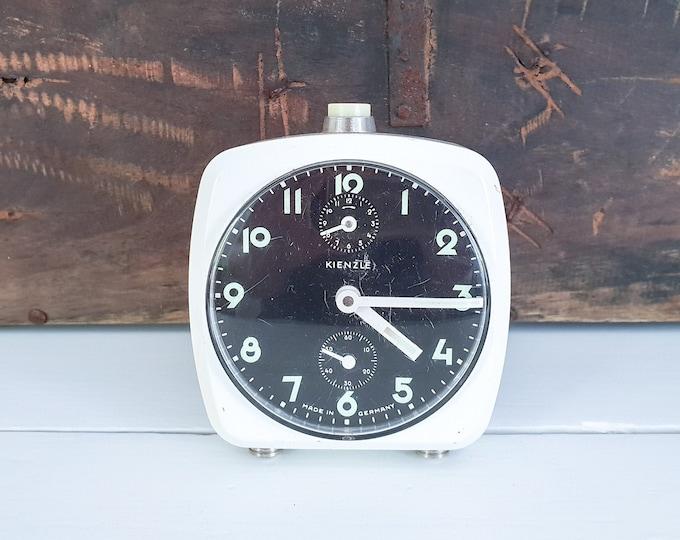Vintage white square alarm clock Kienzle Germany • old alarm clock white • vintage white home accents • old wind up alarm clock