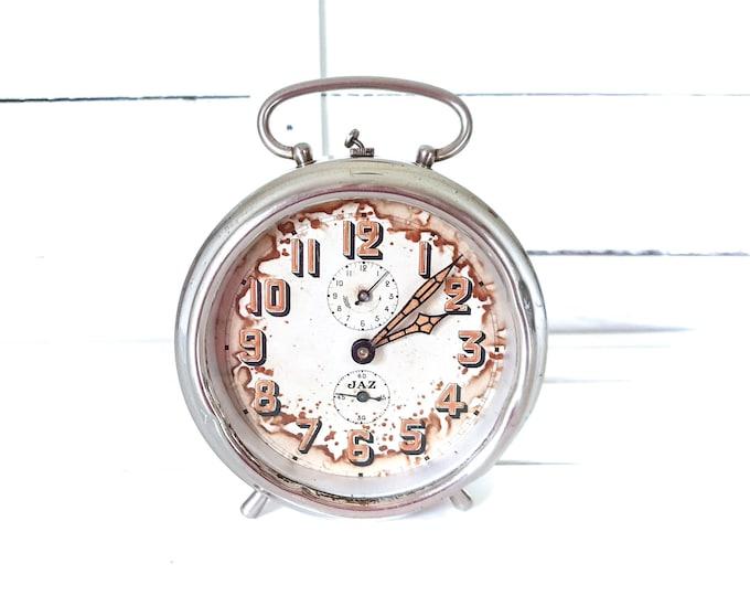 Vintage alarm clock Jaz chroom • windup alarm clocks • French Jaz clock • desk clock • vintage bedroom decor • collectors clock