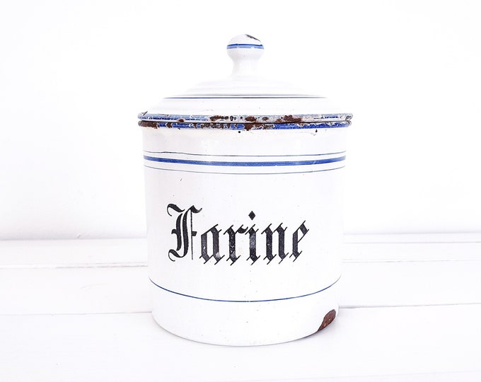 French enamelware cannister • vintage white enamelware • kitchen storage can with lid