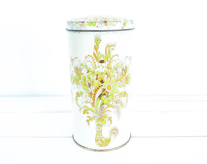 Retro storage tin bird design •  tin can collectible • boho chic decor • vintage tins • cookie storage tin • boho style • seventies