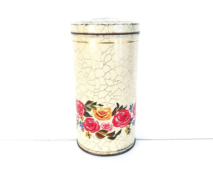 Vintage Dutch rusk tin canister • old storage tins advertisement print • tin storage cans • kitchen storage