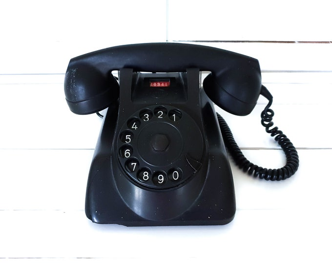 Vintage PTT telephone bakelite black • old-fashioned telephone • old landline telephone • old telephone with dial • fifties phone