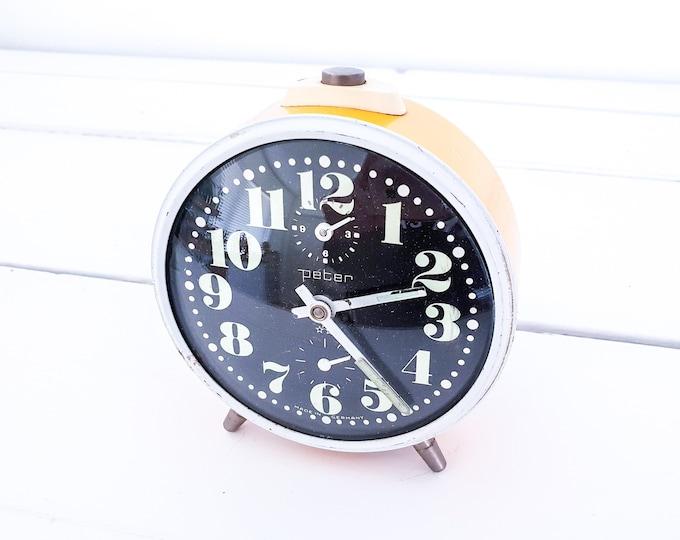 Cute vintage alarm clock yellow • antique mechanical alarm clock • Peter • vintage interior decoration