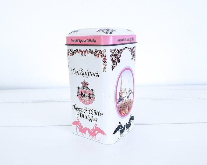 Old tin can de Ruijters Pink and White mice • vintage Dutch traditional tin • vintage tins • baby shower gift • birth girl