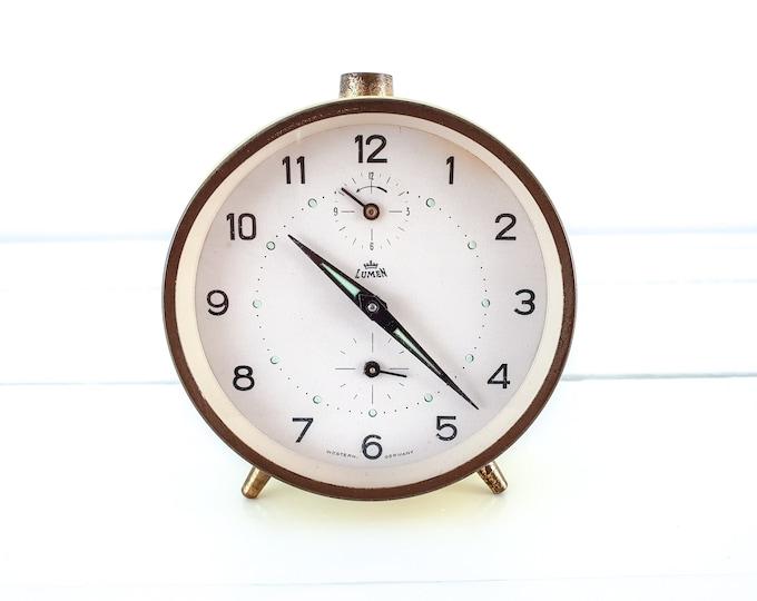 Vintage alarm clock yellow and gold Lumen Western Germany • collectors alarm clock • home office decor gold • decorative alarm clock