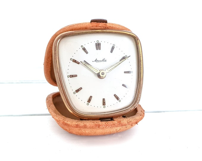 Vintage folding travel alarm clock by Mauthe Germany • old brown gold travel timer • decorative alarm clock • bedroom decoration