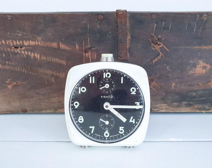 Vintage white square alarm clock Kienzle • old alarm clock white • white home accessories • old fashioned alarm clock