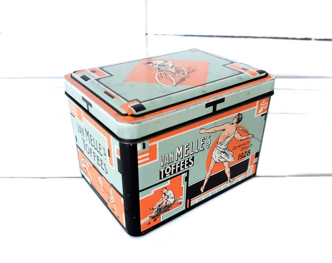 Vintage Dutch metal tin canister Van Melle's toffees Olympic Games 1928 • Van Melle tin • old tin can collectors • sports memorabilia