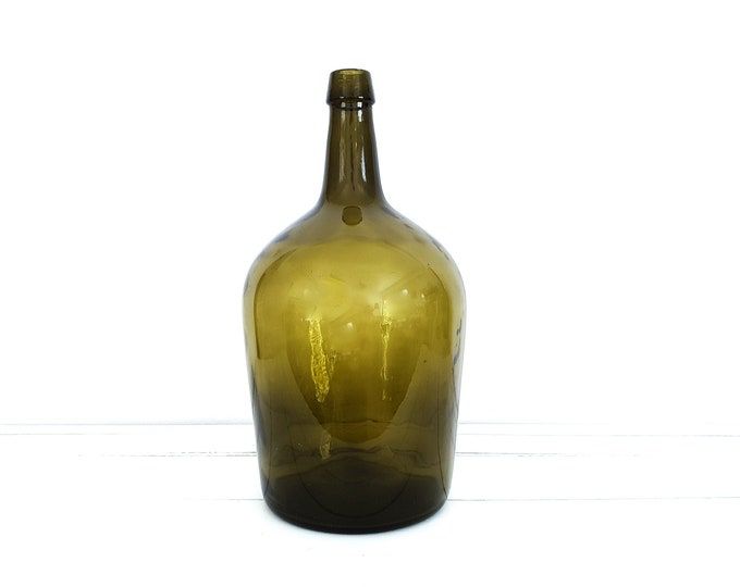 Vintage French large moss green glass bottle • French wine yeast bottle • old green glass vase • vintage glassware • home decor accents