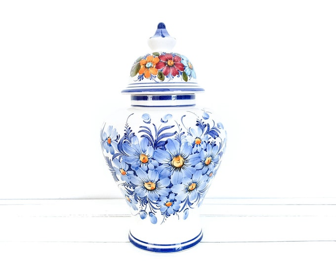 Traditional hand painted Portuguese large ceramic vase • flower vase • Portuguese pottery vase • made in Portugal MR 503