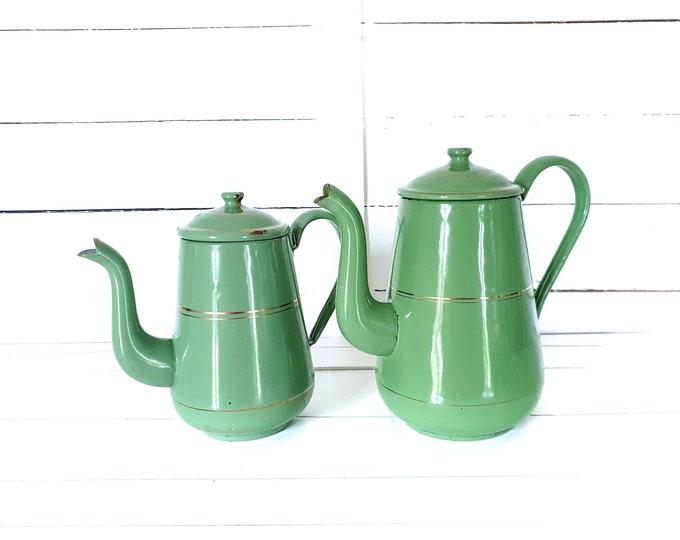 Vintage olive green enamel coffee pot golden trim • farmhouse kitchen decoration • enamelware teapot • cottage style • old enamel kettle